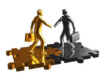 Gold and chrome businessman on puzzle. Royalty Free Stock Photo