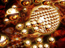 Gold chrome spheres Stock Photo