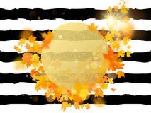 Gold circle with autumn maple leaves background. Season template for design banner, ticket, leaflet, card, poster and stock illustration