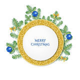 Gold circle banner and  fir-tree branches. Stock Images