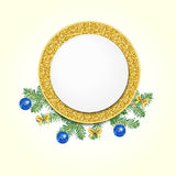 Gold circle banner and  fir-tree branches. Royalty Free Stock Photos