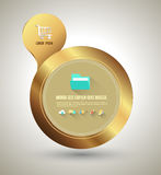 Gold circle banner with icons. Royalty Free Stock Images