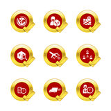 Gold circle and check mark with logistic and transport icons Stock Image