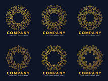 Gold circle flower line art for logo and frame vector set design Stock Images