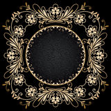 Gold circle frame on black Royalty Free Stock Image