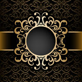 Gold circle frame over pattern Royalty Free Stock Photos