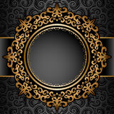 Gold circle frame over pattern Royalty Free Stock Images