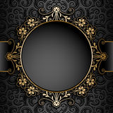 Gold circle frame over pattern Stock Image