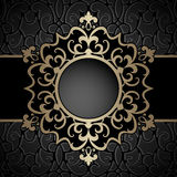 Gold circle frame over pattern Stock Photography