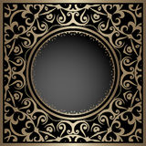 Gold circle frame template. Vintage gold background, ornamental frame, package template with circle hole royalty free illustration