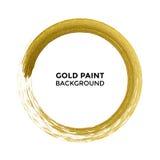 Gold circle glitter texture paint brush on vector white background stock illustration