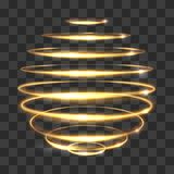Gold circle light tracing effect, glowing magic 3d sphere  on transparent background. Vector illustration Stock Photography