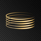 Gold circle lights effects isolated on black background. stock illustration