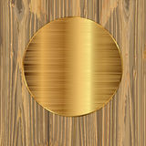 Gold circle on a planks Royalty Free Stock Photo