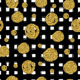Gold circles on black hand drawn line. Trendy seamless pattern. Use in the celebrate design. Vector illustration Stock Photo