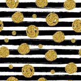 Gold circles on black handdrawn line. Trendy seamless pattern Royalty Free Stock Image