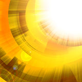 Gold circles with bright rays of light Royalty Free Stock Image