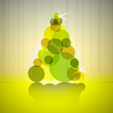 Gold circles silhouette christmas tree Royalty Free Stock Photos