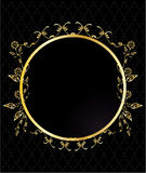 Gold circular floral frame Stock Photos