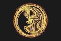Gold circular fractal like yin and yang Stock Photography