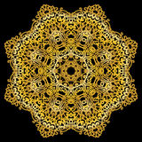Gold circular pattern on black background. Gold circular pattern. East ornament. Mandala. Good for greeting cards, invitations. Print on fabric and paper Royalty Free Stock Images