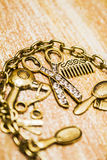 Gold class hair styling background Royalty Free Stock Image