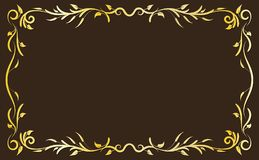 Gold Antique Frame. Gold classical antique decorative frame on brown backgroung. To be used for holidays, celebrations or happy events Royalty Free Stock Photography