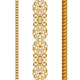 Gold classical chain rope lace seamless borders clip art, isolated on white background. Gold classical baroque seamless borders set, isolated on white background stock illustration