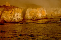 Gold Cliffs in the Fog Stock Photography