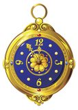 Gold clock. Ancient gold clock with blue dial Royalty Free Stock Photography