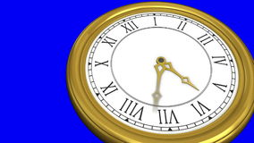 Gold clock on blue background royalty free illustration