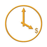 Gold clock with dollar sign Royalty Free Stock Photos