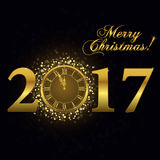 Gold clock, Happy New Year. 2017 Gold clock, Happy New Year Luxury background. Merry Christmas Golden Greeting Card with glitter gold numbers. Vector Royalty Free Stock Photos
