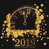 Gold Clock indicating countdown to 12 O` Clock 2019 New Year`s Eve on a black background. Amidst bubbles stock illustration