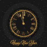 Gold Clock indicating countdown to 12 O` Clock 2019 New Year`s Eve on a black background. With gold dust stock illustration