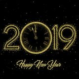 Gold Clock indicating countdown to 12 O` Clock 2019 New Year`s Eve on a black background. Gold clock with roman numerals on a circular ring disco clock with New vector illustration