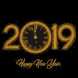 Gold Clock indicating countdown to 12 O` Clock 2019 New Year`s Eve. On a black background royalty free illustration