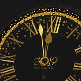 Gold Clock indicating countdown to 12 O` Clock 2019 New Year`s Eve on a black background. With gold dust royalty free illustration