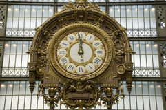 Gold clock, Musee d'Orsay Royalty Free Stock Images