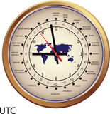 Gold clock with time zones Stock Photography