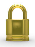 Gold closed lock on white background Royalty Free Stock Image