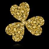 Gold Clover on Black Backgound. Vector Illustration. Star Confet. Ti Stock Photos
