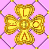 Gold clover ornament love background. Luxury pink tiles decorate with large golden 3D floral ornaments. Repeatable seamless tile pattern for Valentines day and Royalty Free Stock Photography