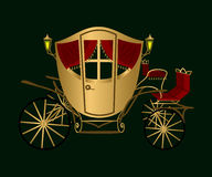 Gold coach. On a green background vector illustration