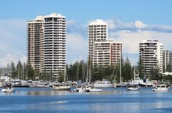 Gold Coast Apartments on the Nerang River Stock Photos