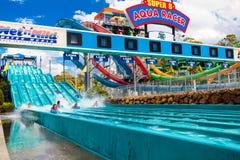 GOLD COAST, AUS - MAR 20 2016: Visitors riding on Super 8 Aqua R Royalty Free Stock Photos