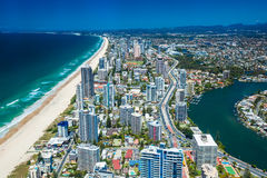 GOLD COAST, AUS - OCT 04 2015: Aerial view of the Gold Coast in Stock Image