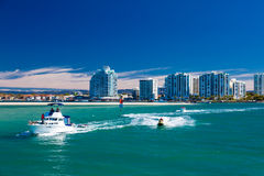 Free Gold Coast, AUS - SEPT 04 2016 Water Sport With The View Of Labrador Suburb, Gold Coast Royalty Free Stock Photos - 79790498