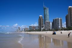 GOLD COAST, AUSTRALIA - MARCH 25, 2008: People visit the beach in Surfers Paradise, Gold Coast, Australia. With more than 500,000 royalty free stock photos