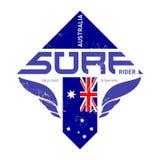 Gold coast Australia surf rider t-shirt vintage print. Vector de Stock Photography